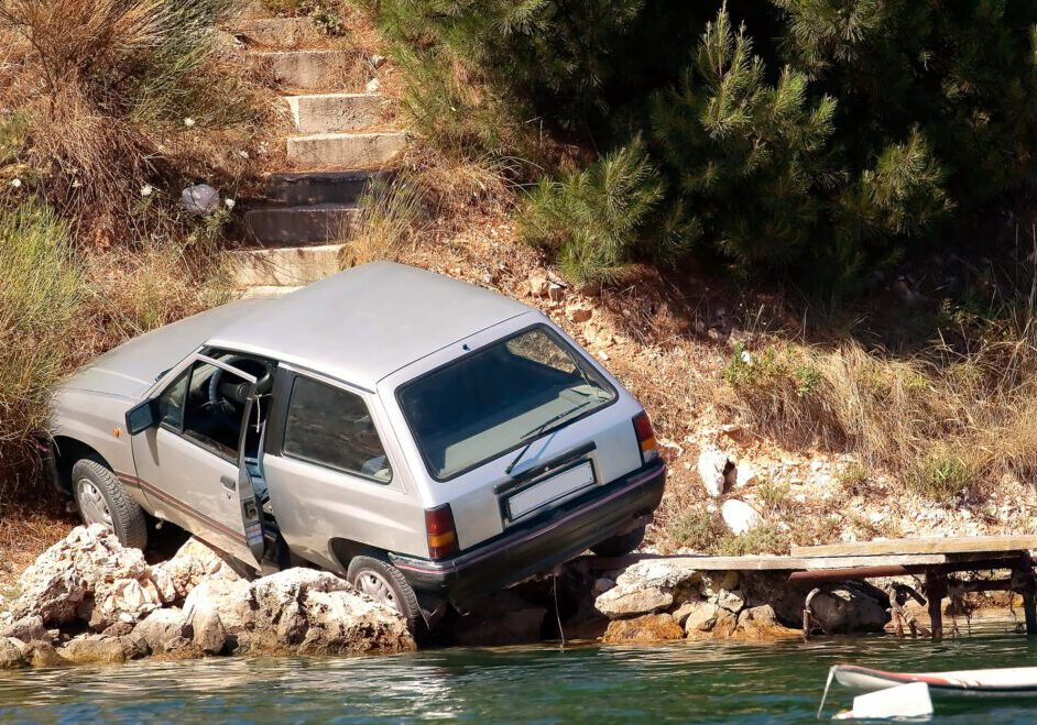 a truck on a river